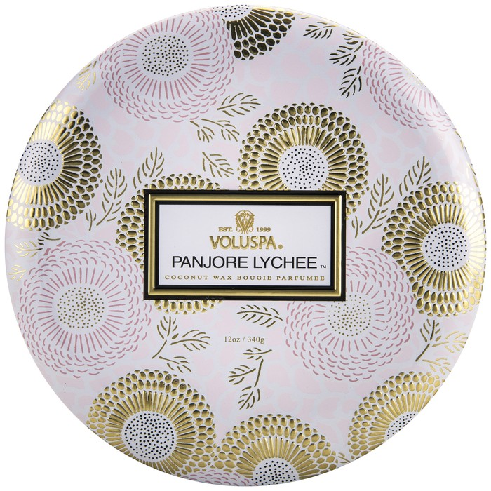 3 Wick Candle in Decorative Tin Panjore Lychee
