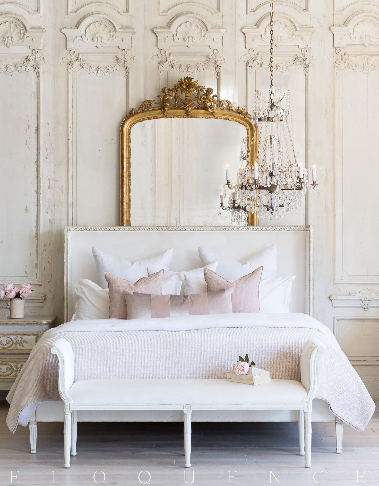 Cassia Bed in Ivory Velvet and Antique White with Gold Leaf Finish (Queen)