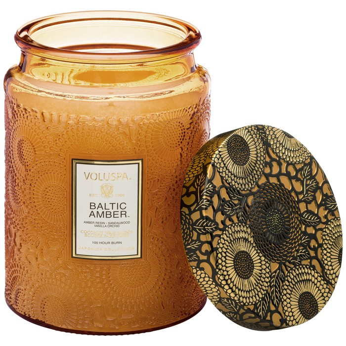 Large Embossed Glass Jar Candle Baltic Amber