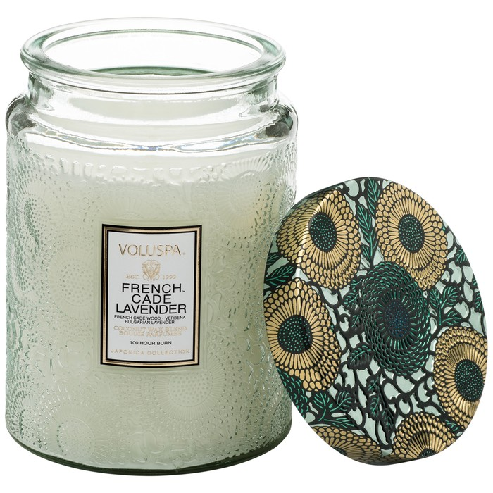 Large Embossed Glass Jar Candle French Cade Lavender