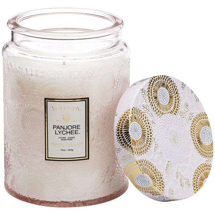 Large Embossed Glass Jar Candle Panjore Lychee