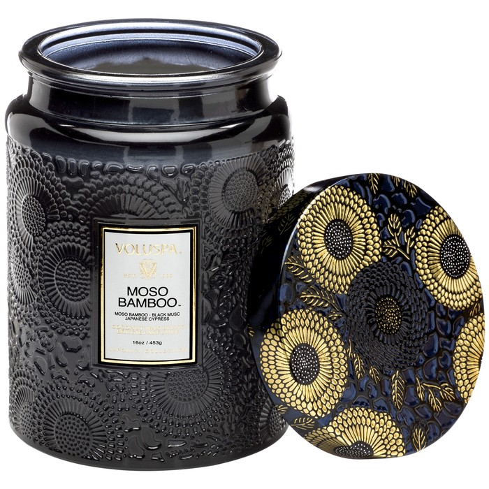 Large Embossed Glass Jar Candle Moso Bamboo