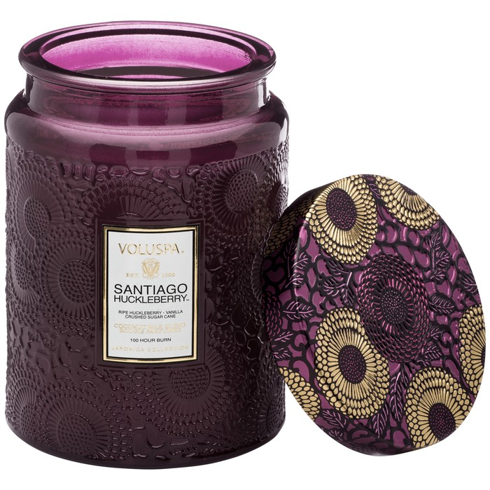 Large Embossed Glass Jar Candle Santiago Huckleberry