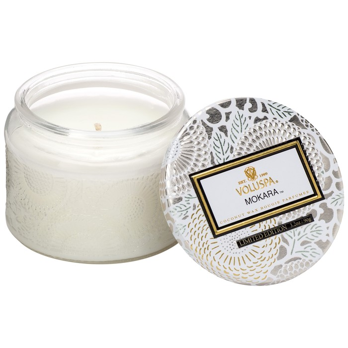Petite Embossed Glass Jar Candle Mokara