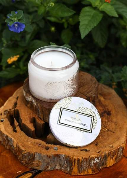 Petite Embossed Glass Jar Candle Panjore Lychee
