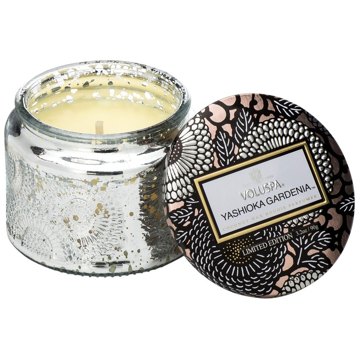 Petite Embossed Glass Jar Candle Yashioka Gardenia