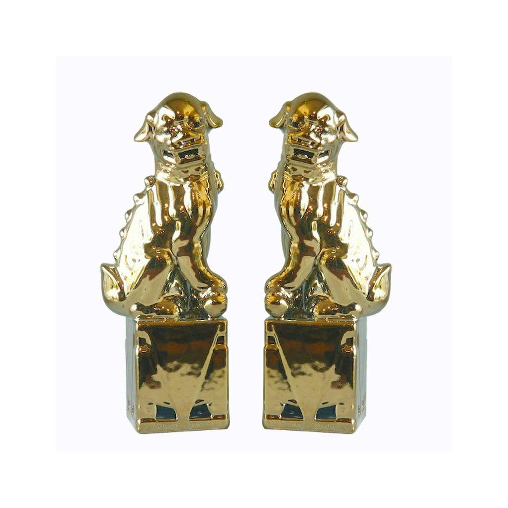 Porcelain Sitting Foo Dog Pair (Gold)