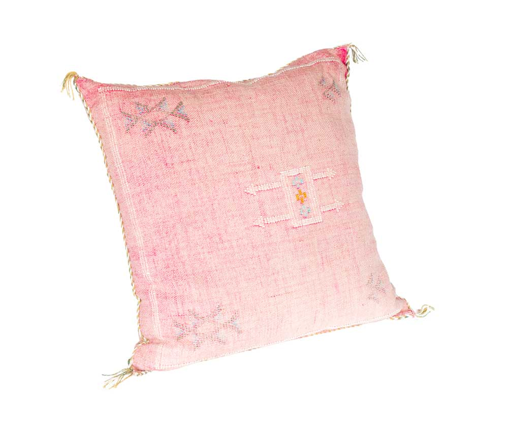 Square Pink Pillow (Light Cream Corners)