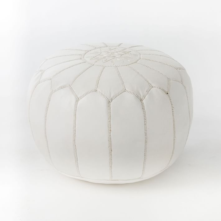 LEATHER MOROCCAN POUF-WHITE