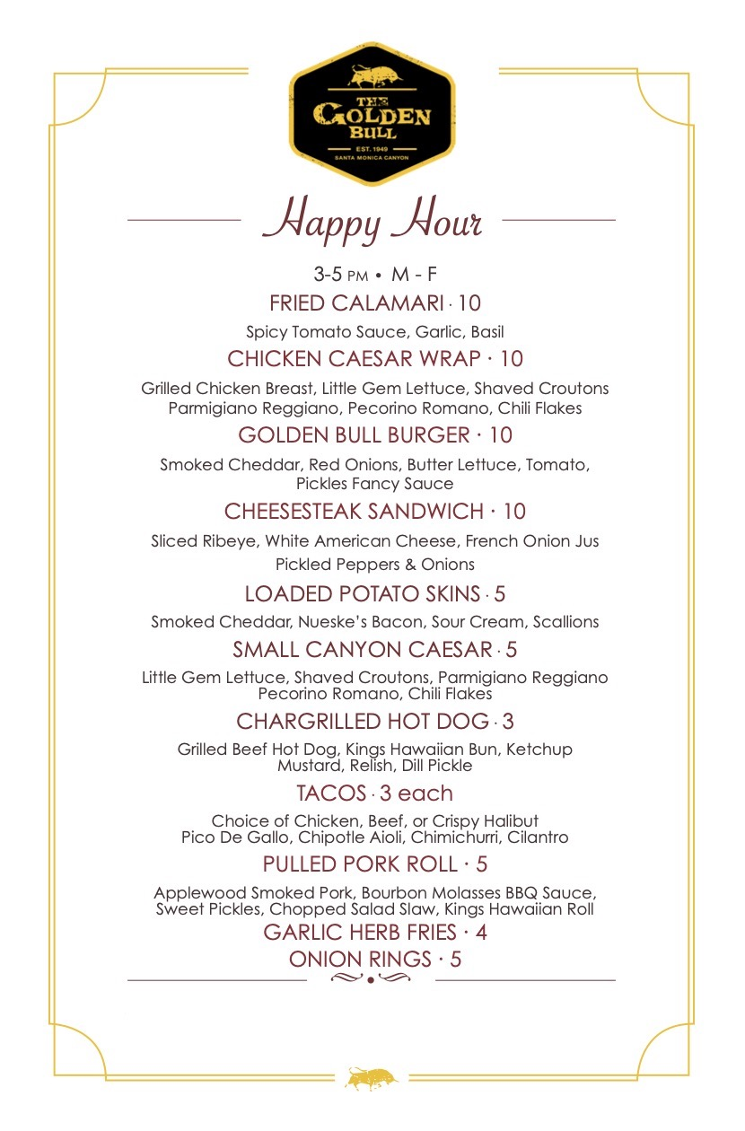 Golden Bull Happy Hour Food Menu