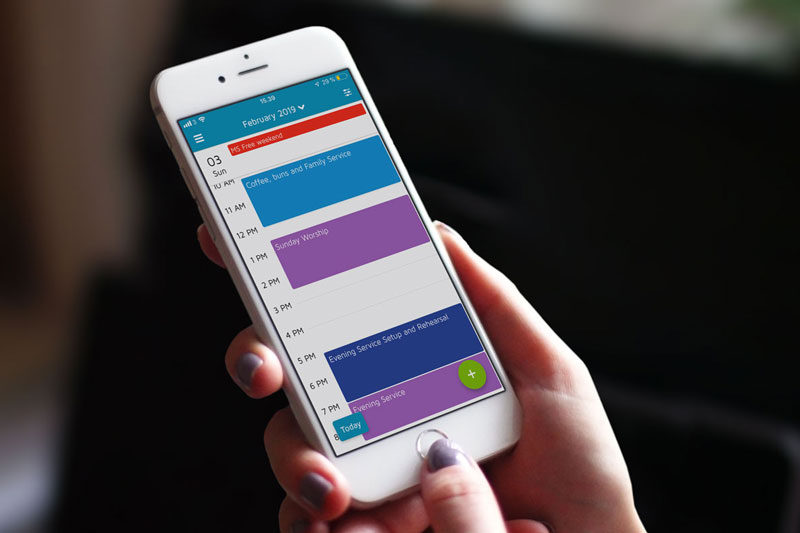 Foto der Kalender-Ansicht in der ChurchDesk-App
