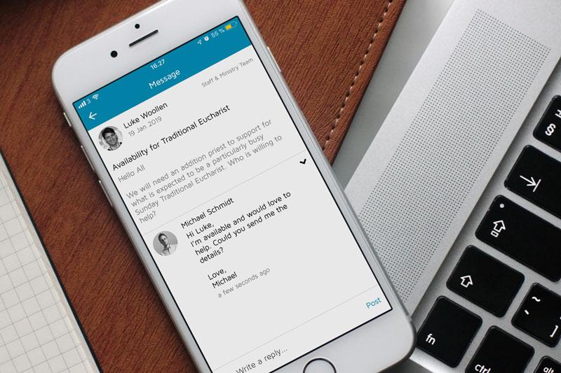 Foto der ChurchDesk-Gruppen in der ChurchDesk-App