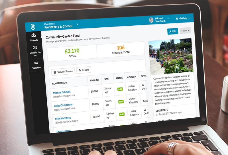Foto eines Laptops mit dem ChurchDesk-Spendenmodul im Browser