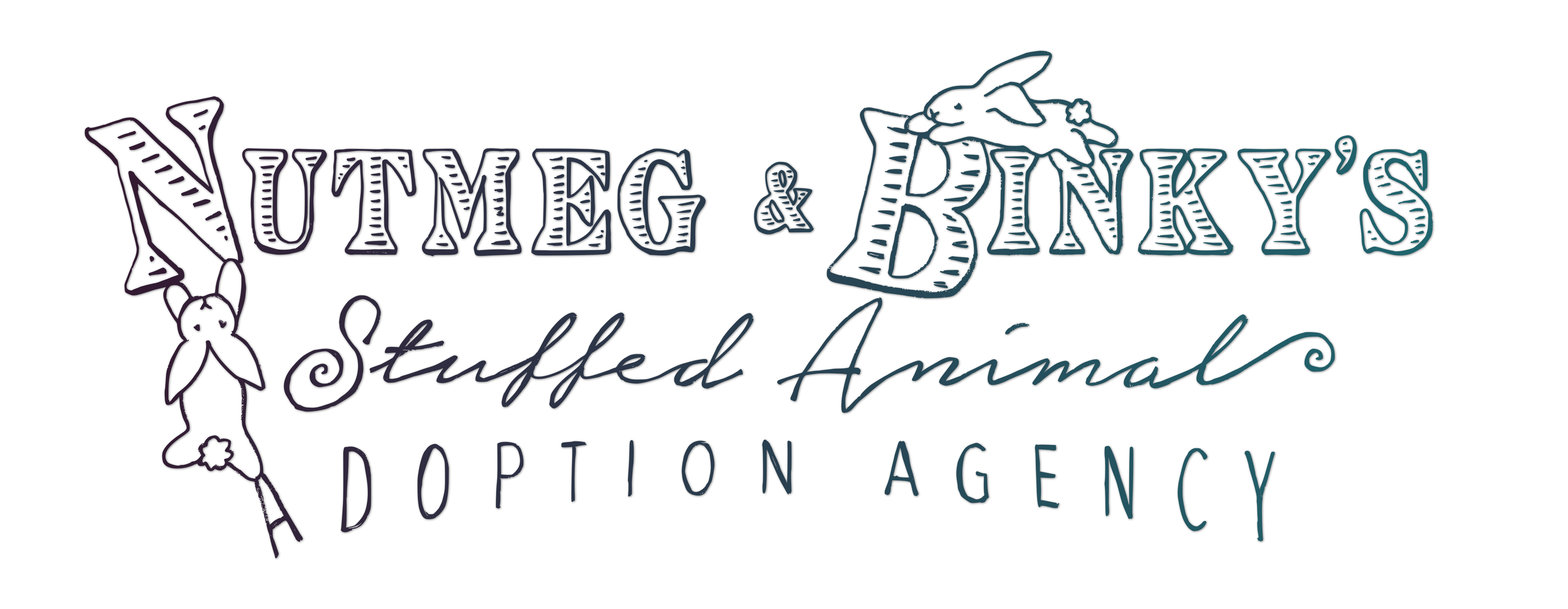 Nutmeg and Binky's Stuffed Animal Adoption Agency Logo