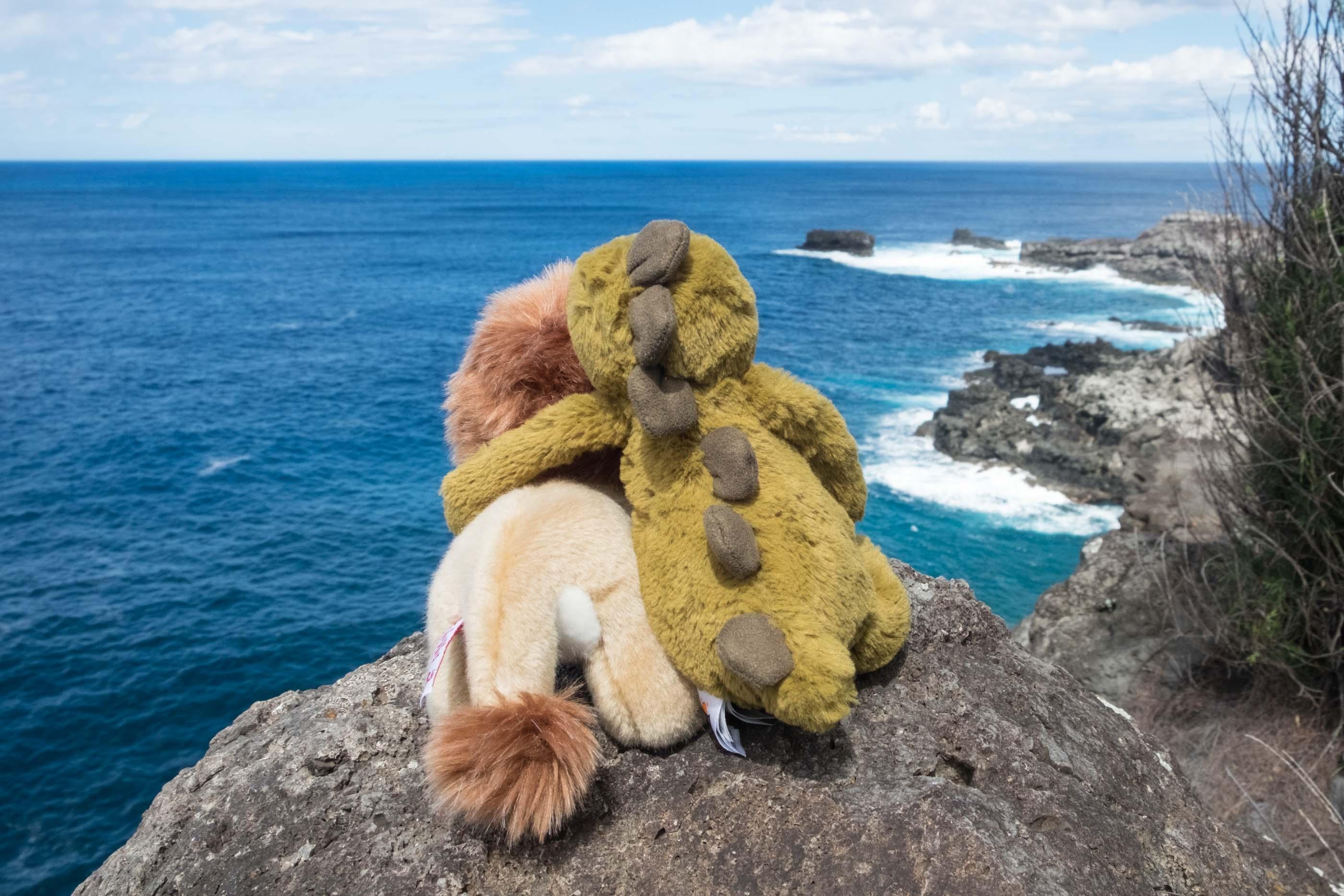 plush lion and dinosaur friends