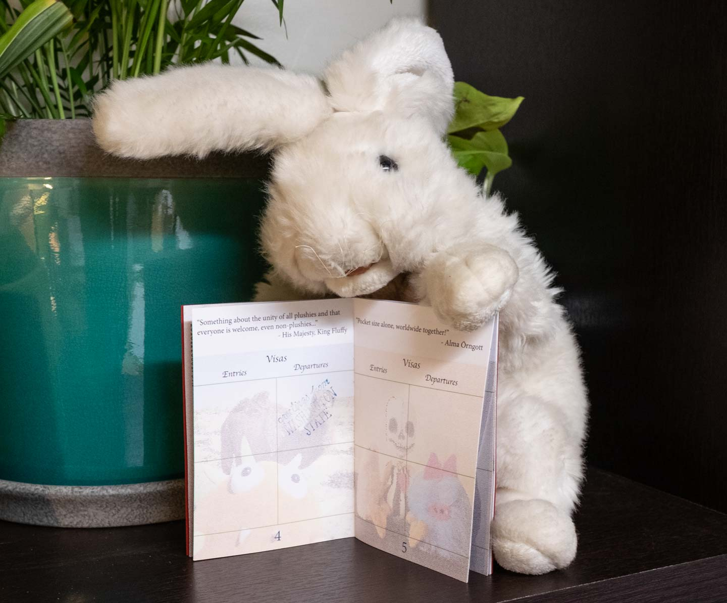 Toy stuffed animal passport with spaces for stamps