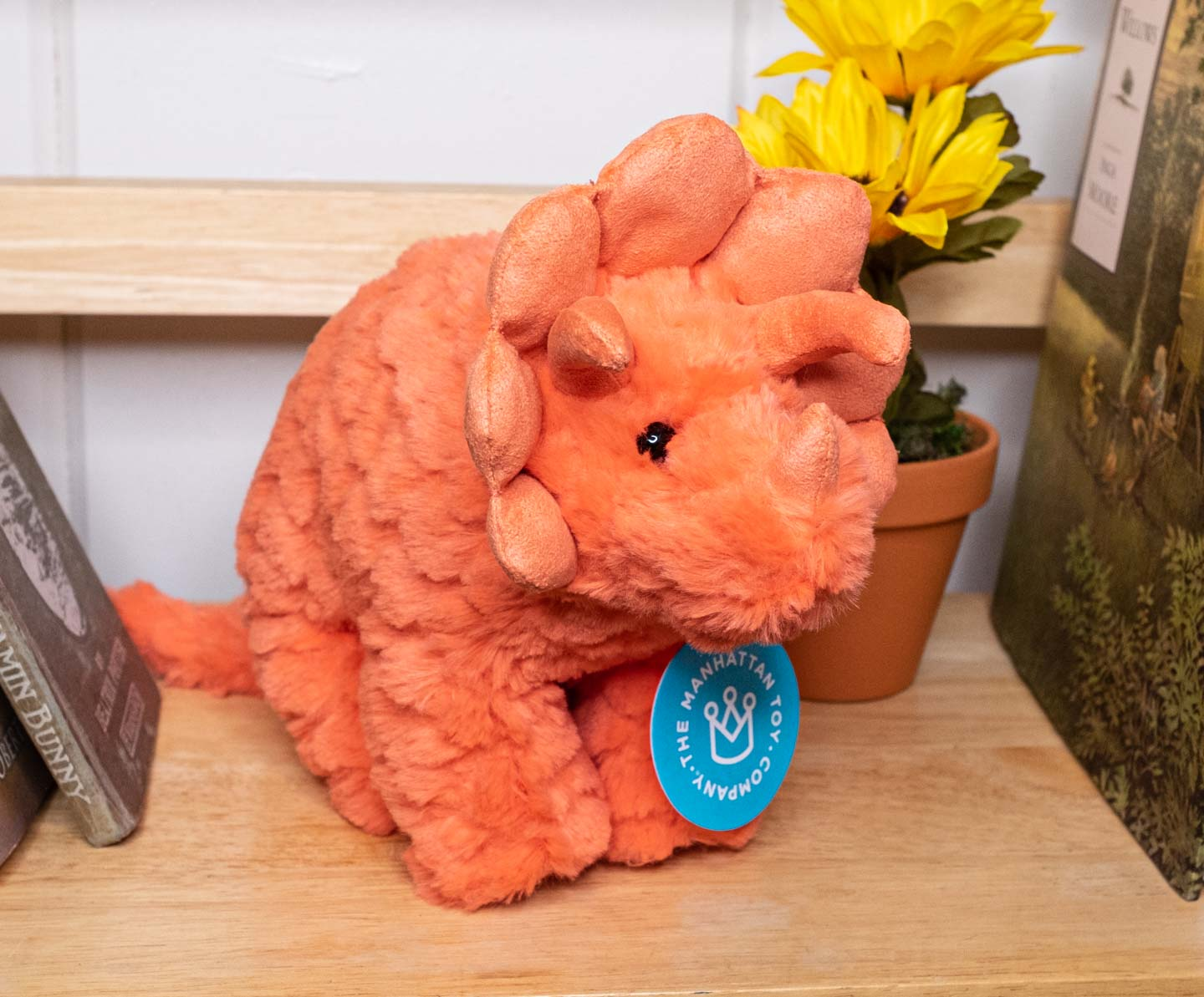 pink stuffed animal triceratops