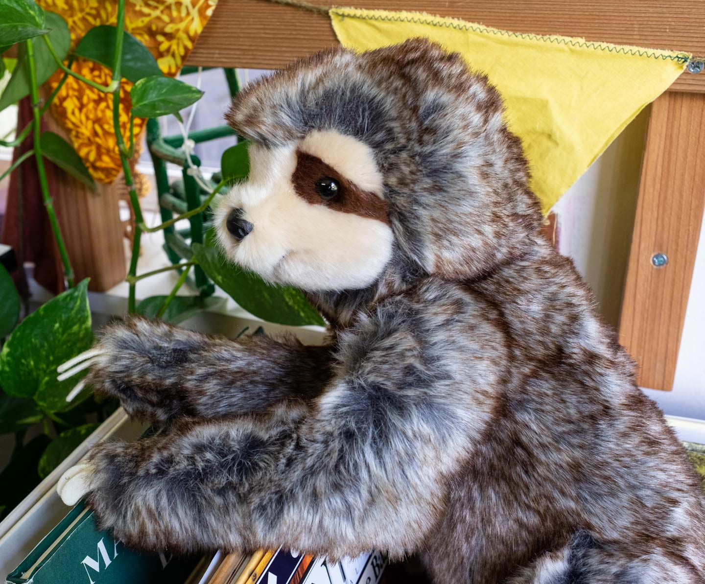 stuffed animal sloth with velcro arms