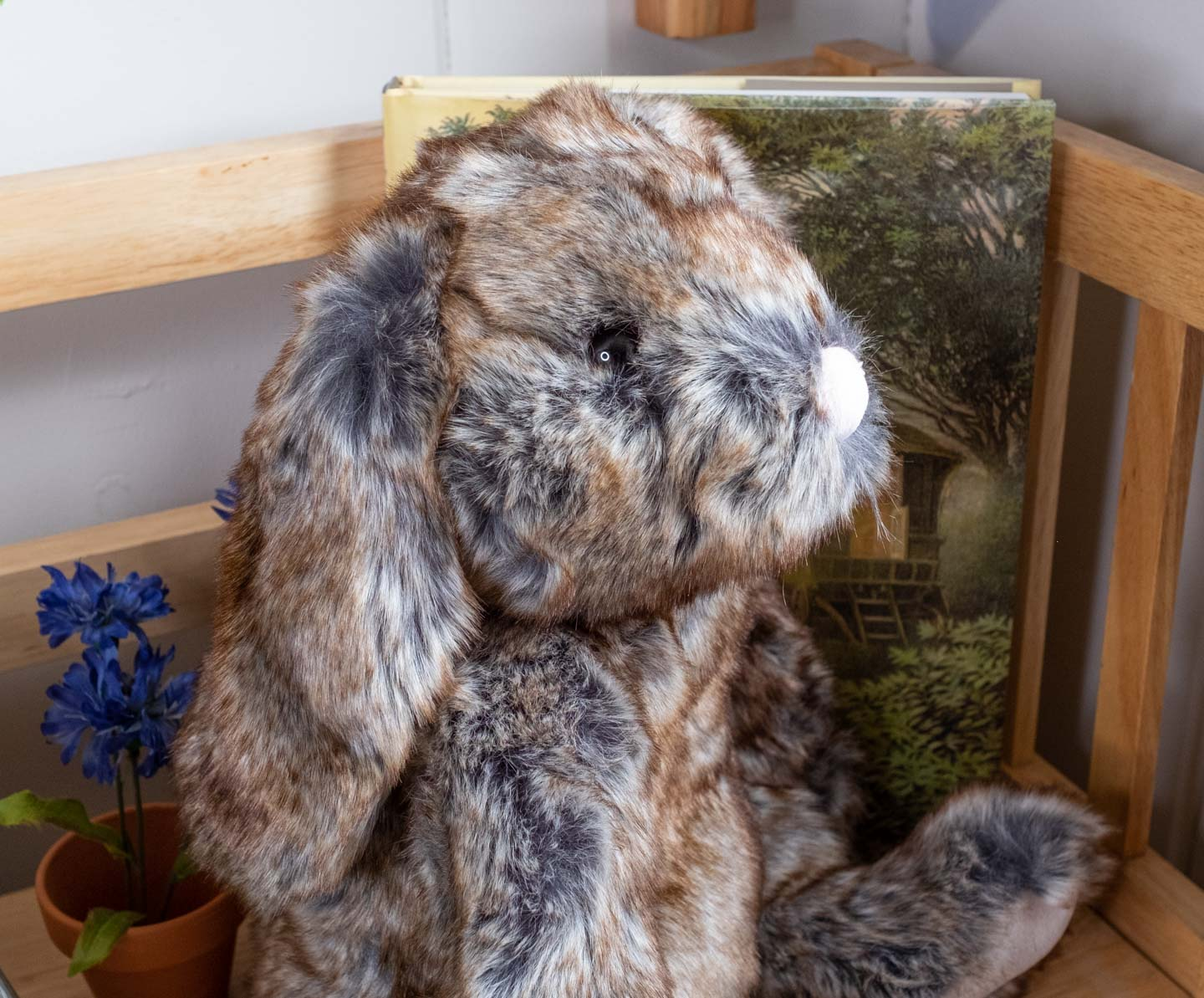 soft and cuddly gray-brown stuffed bunny