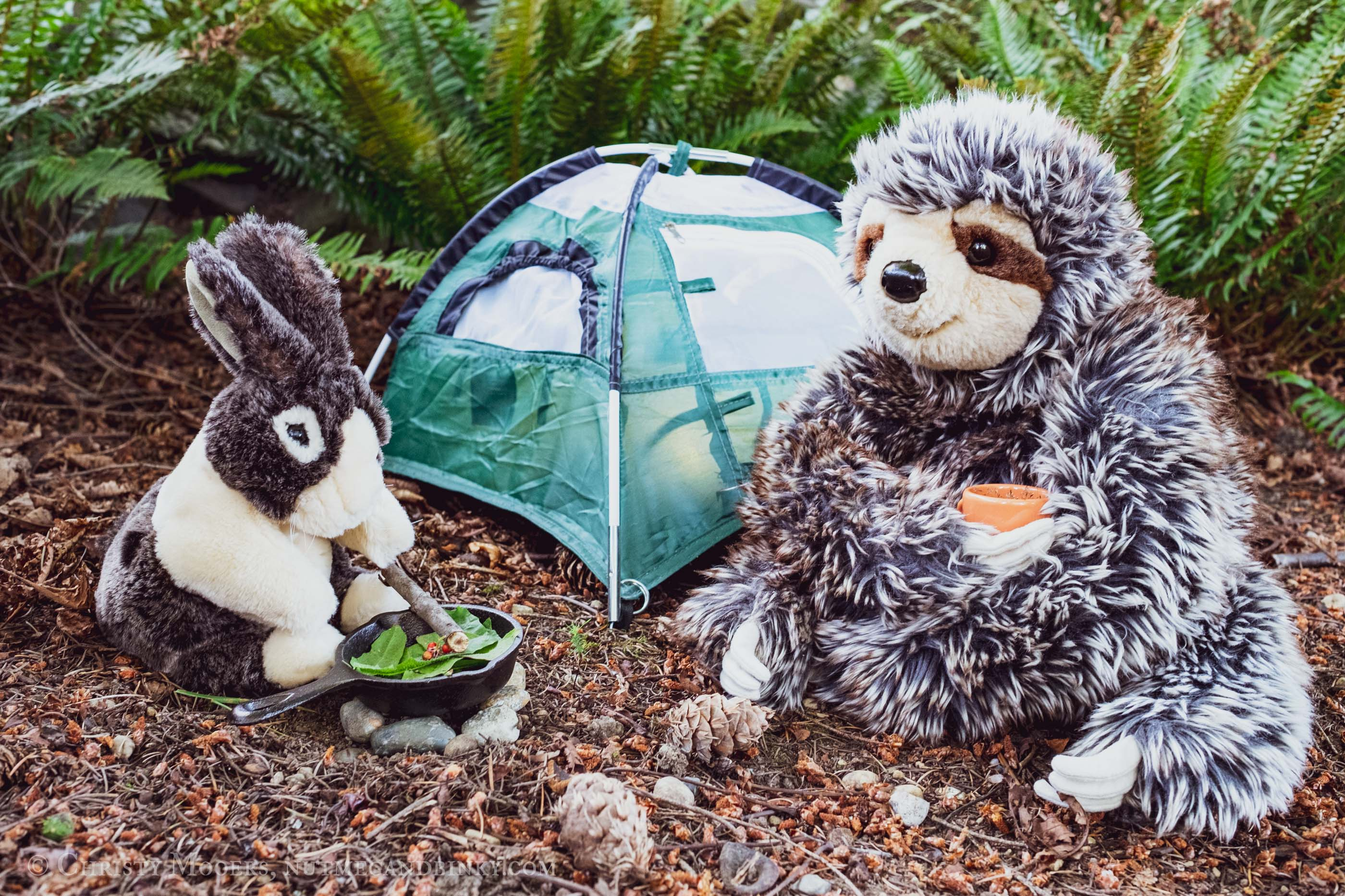 stuffed bunny and sloth camping and cooking food