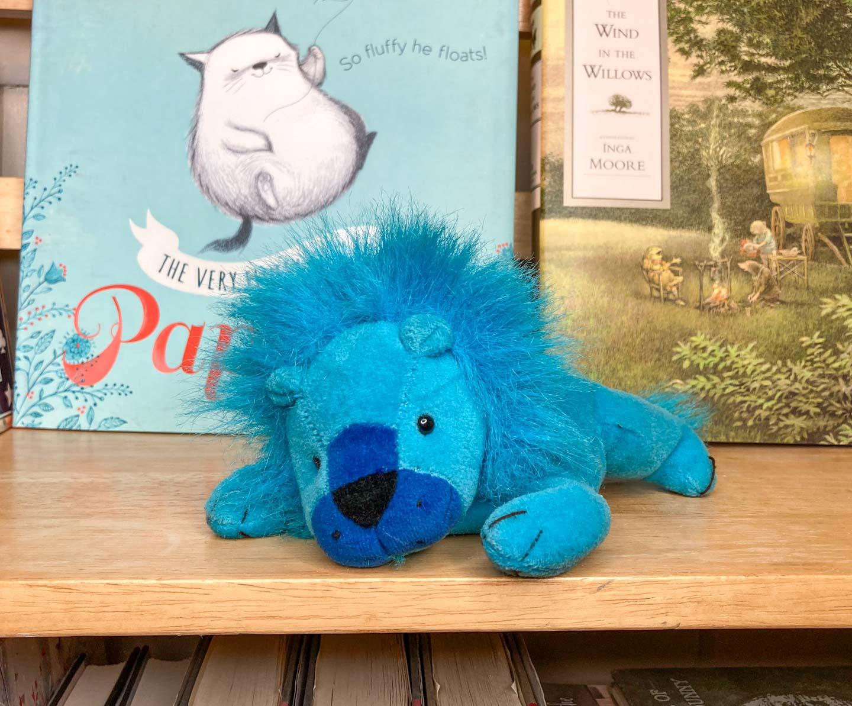 Blue plush lion