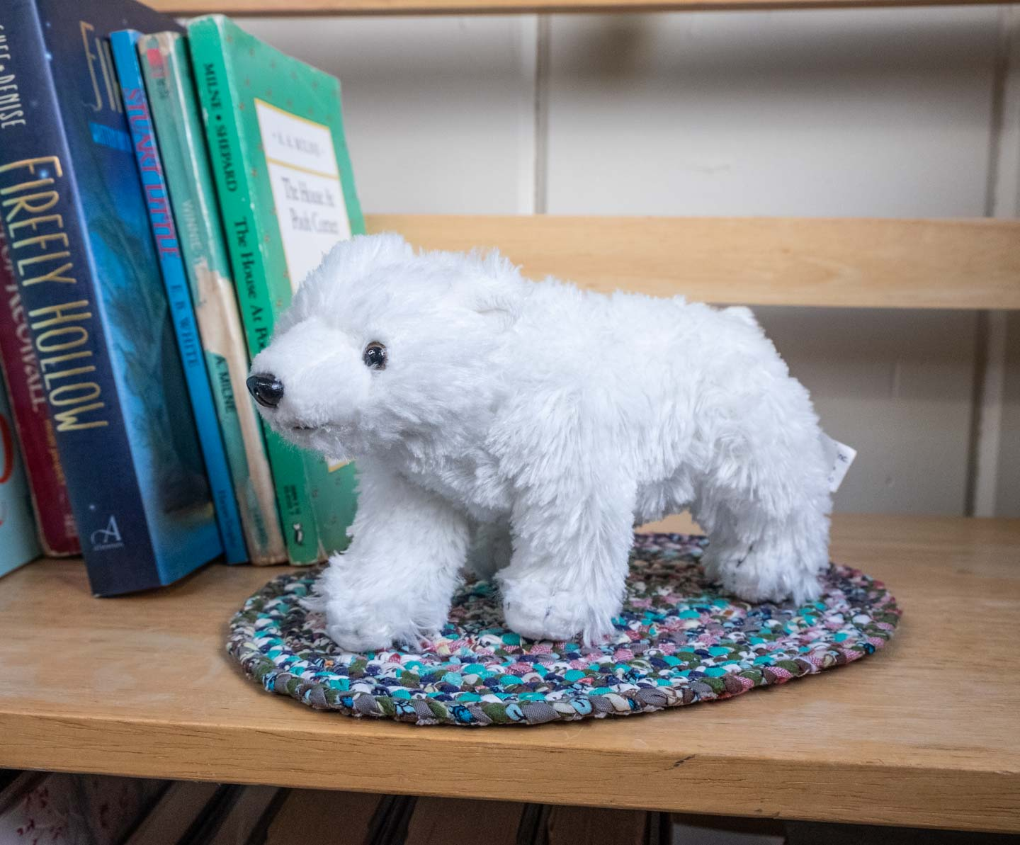 Tiny white plush standing polar bear