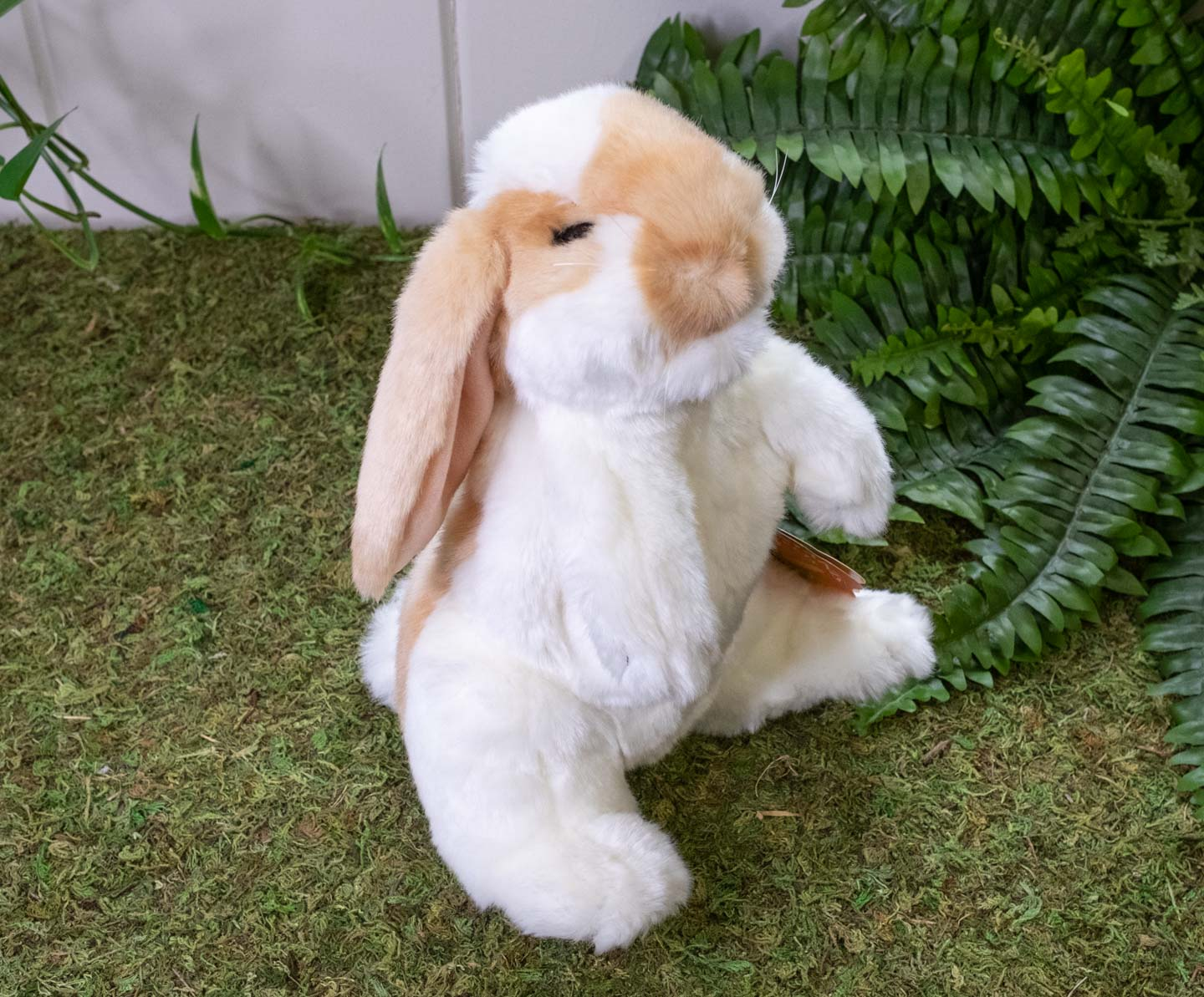 Standing brown and white lop bunny puppet