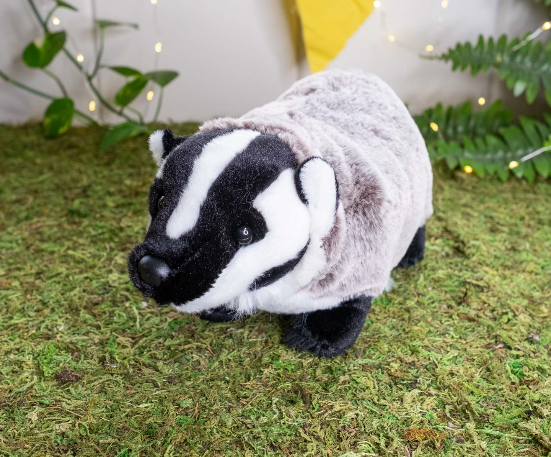 Black, gray and white plush badger