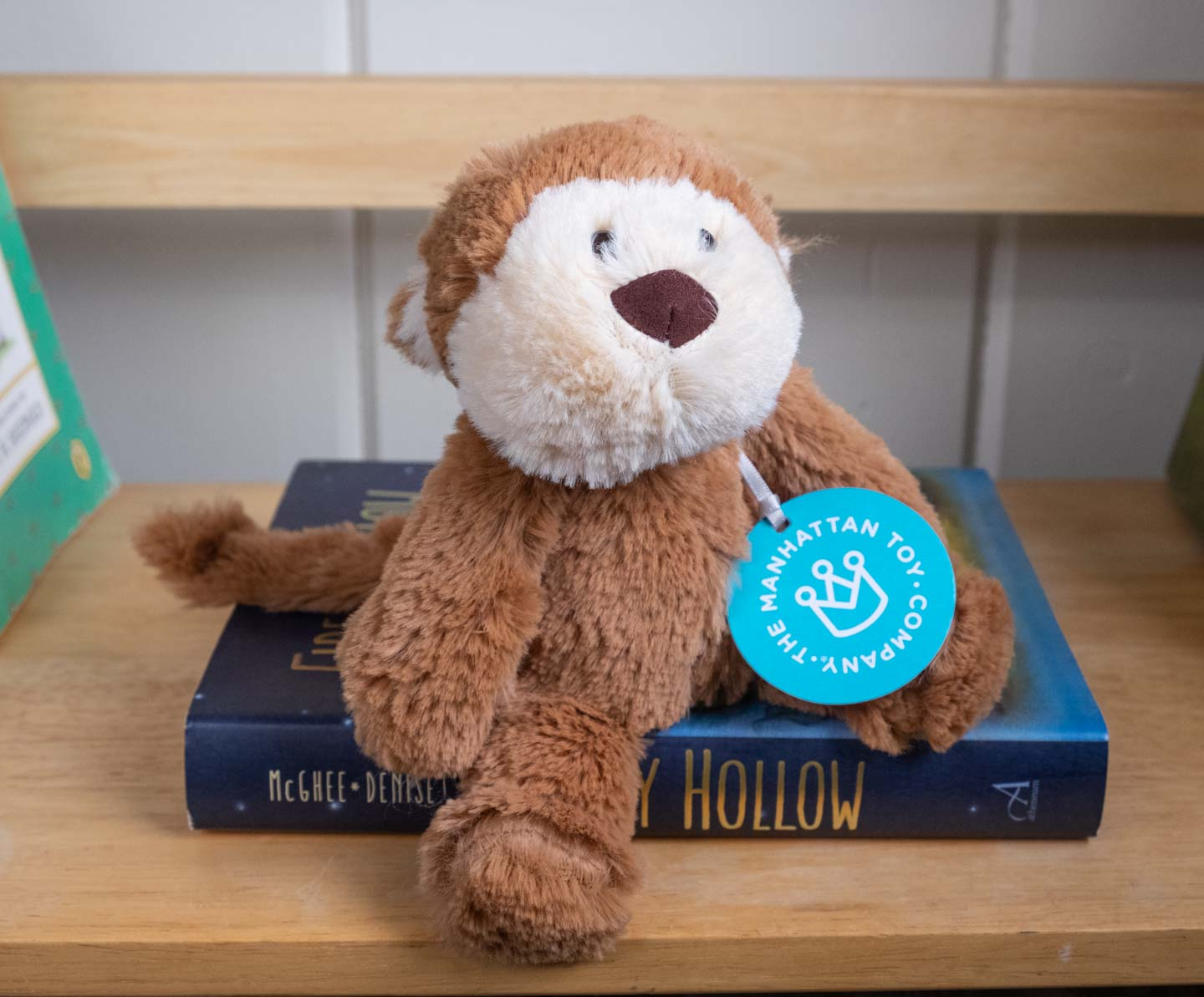 Small brown plush monkey sitting on a book