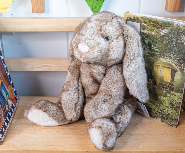 Floppy brown sitting plush bunny on a bookshelf