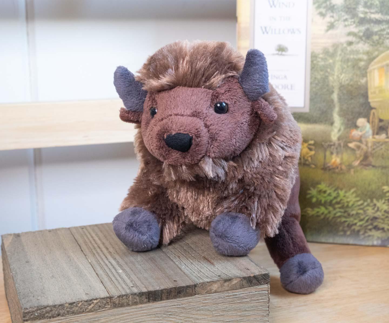 Brown standing plush bison