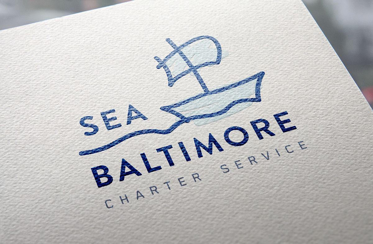 sea baltimore logo design mocked up on paper