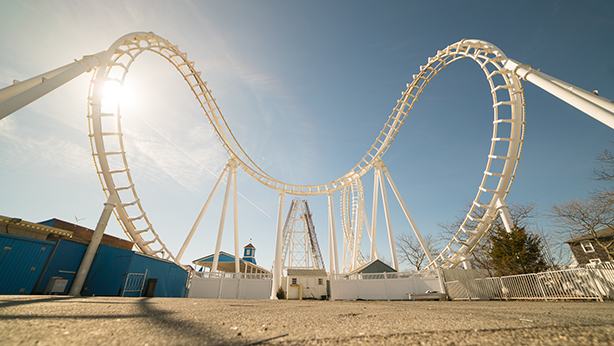 ocean city rollercoaster on sunny day