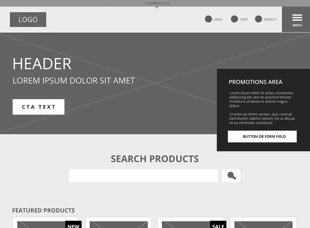 wireframe of homepage header for lexip