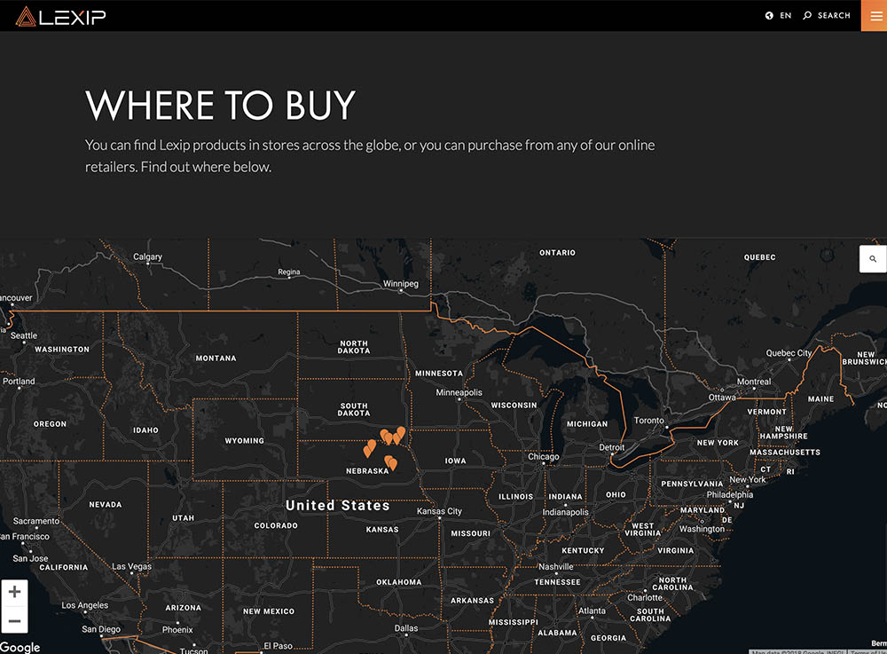 preview of lexip map component on desktop