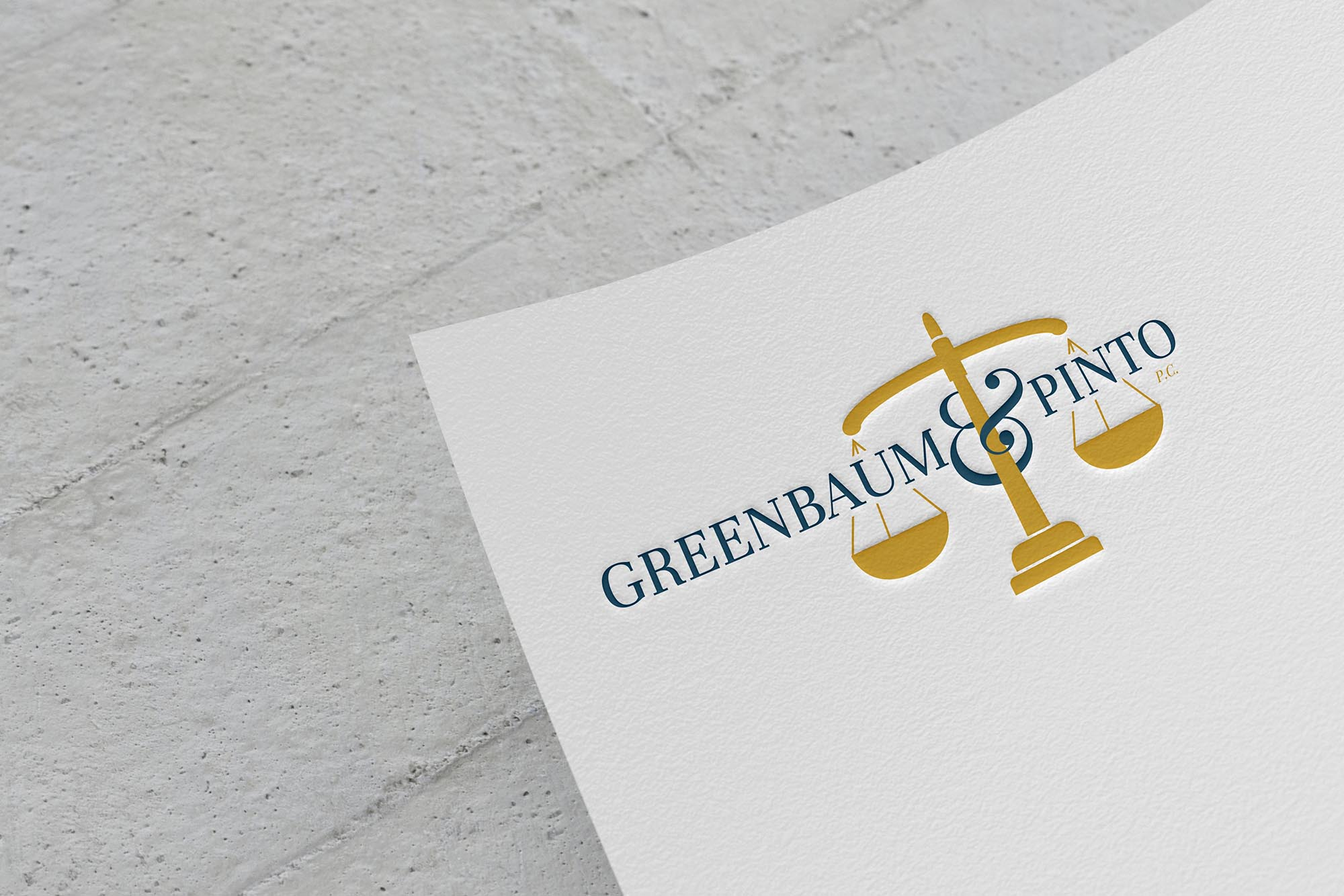greenbaum logo mocked up on paper