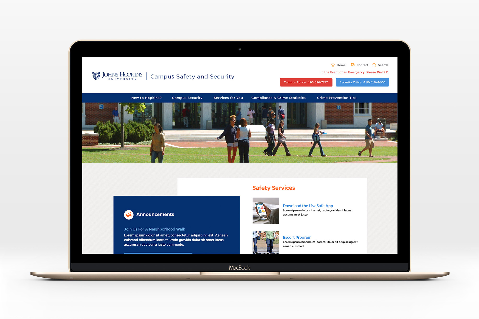homepage mockup of johns hopkins university campus safety website on laptop
