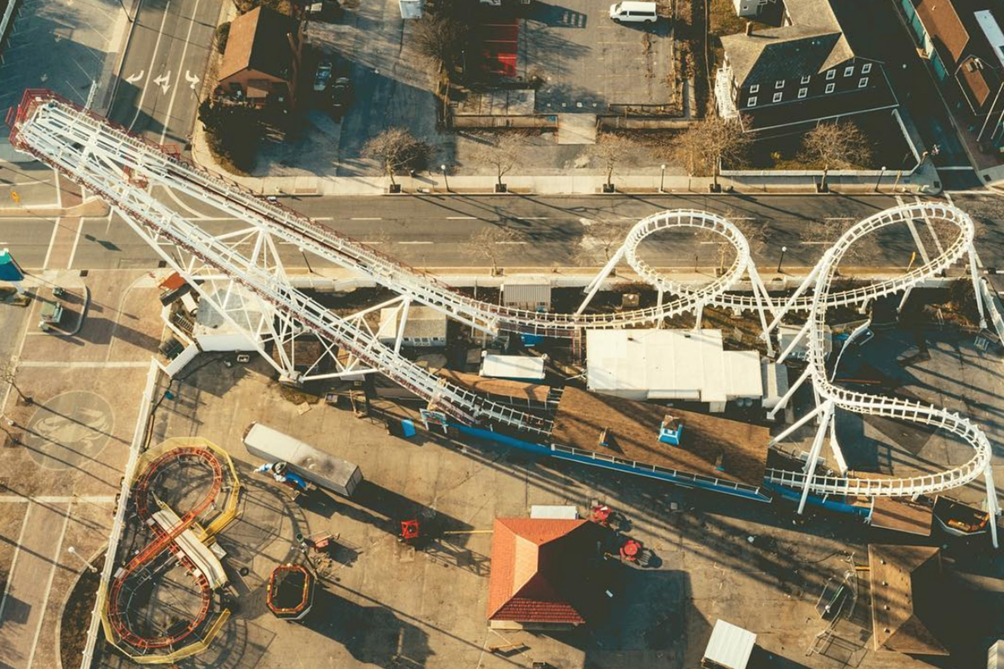 drone photograph of ocean city maryland rollercoaster