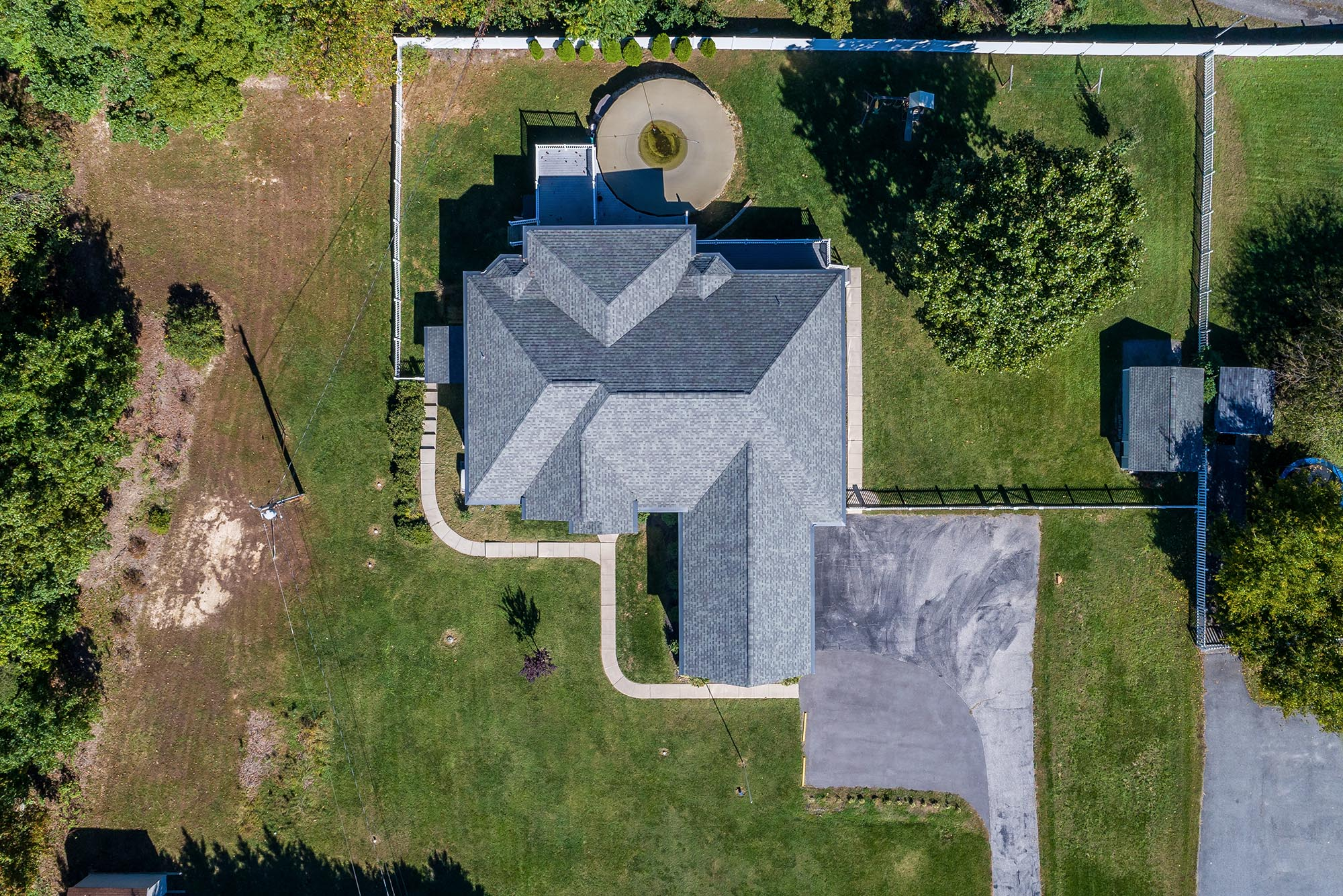 exterior drone photograph straight above home