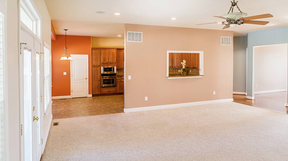 interior photograph of living and kitchen space