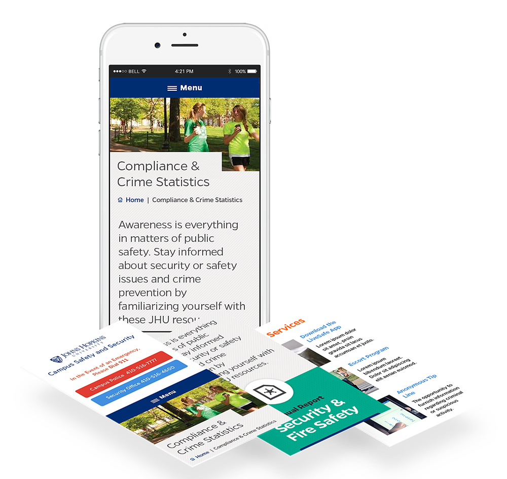 mobile mockup of interior pages of campus safety website design
