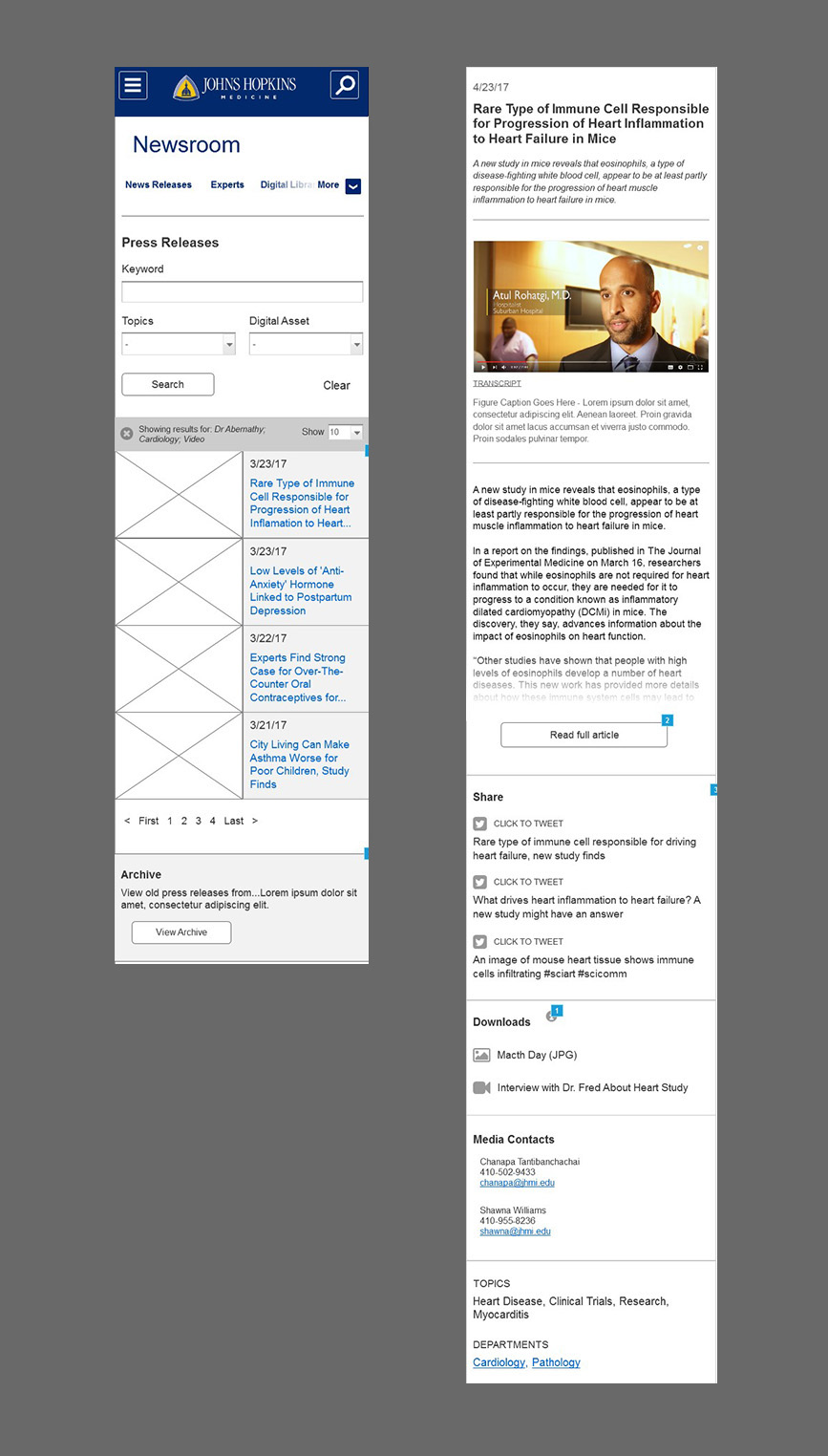 mobile wireframe of jhm press release landing page and detail page