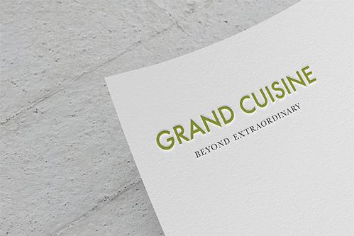 grand cuisine logo mockup