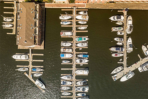 aerial shot of boats in the inner harbor
