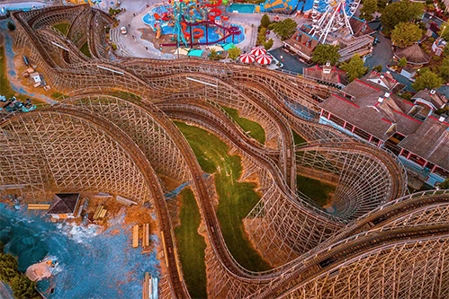 aerial photograph of hershey park rollercoaster