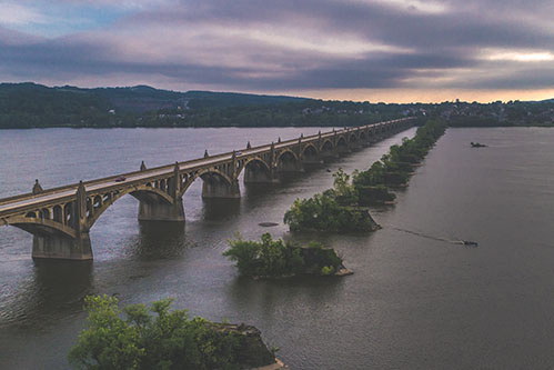 aerial view of susquehannah river bridge
