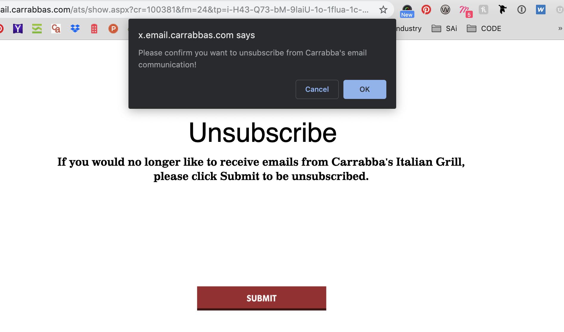 Carrabba's Unsubscribe Popup