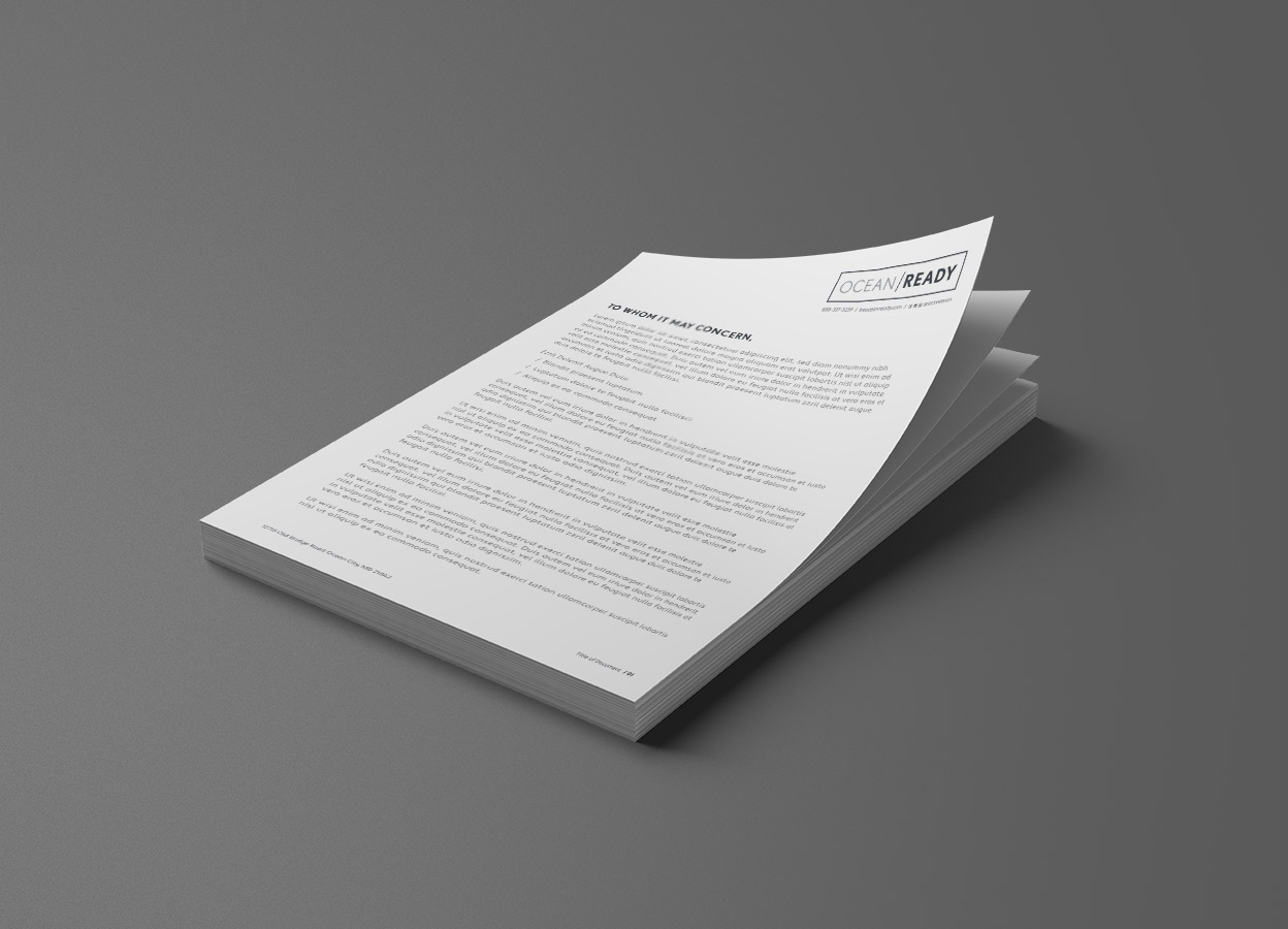 stacked view of letterhead design with ocean ready logo top right and address and page count on bottom