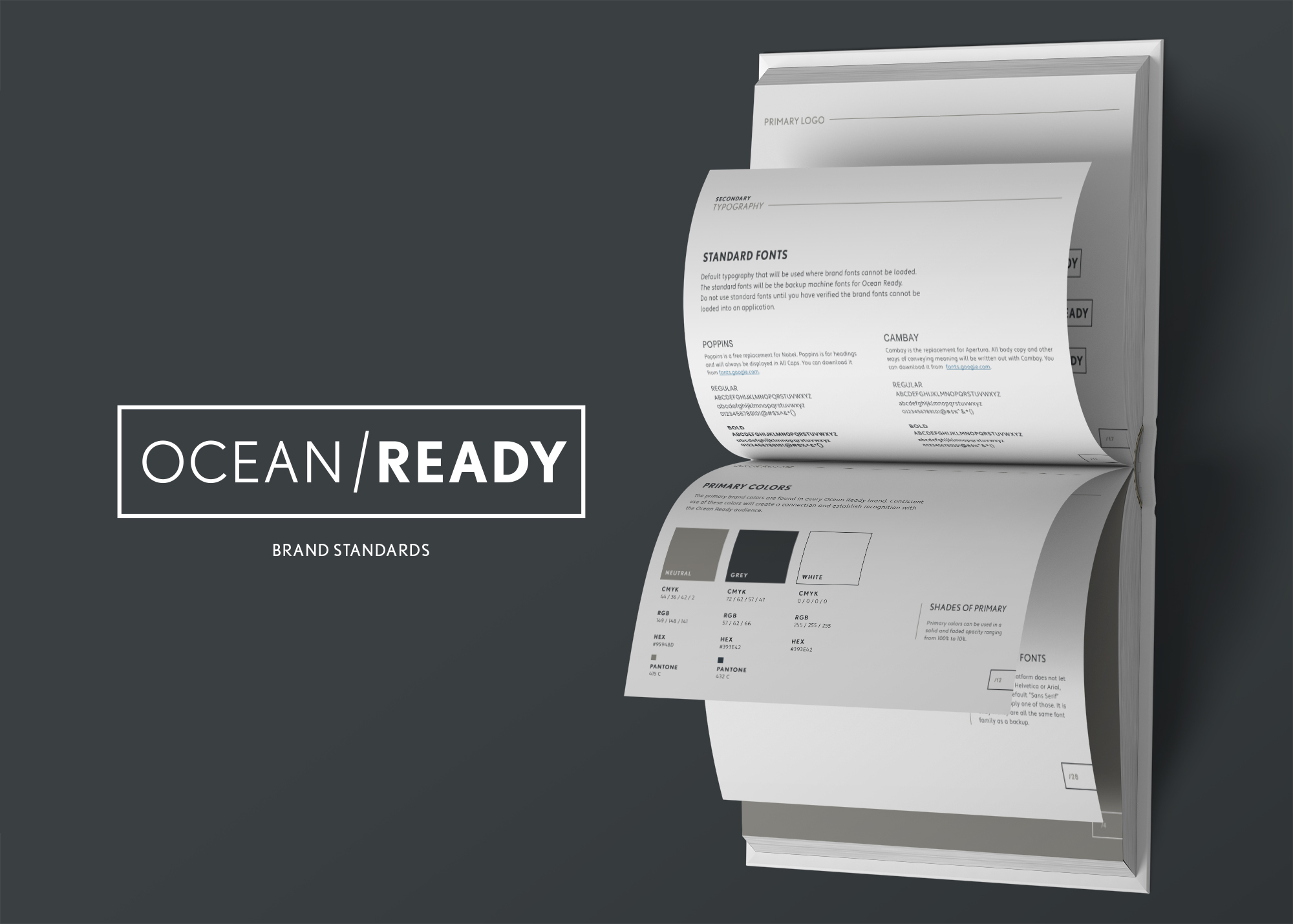 mockup of ocean ready brand standards manual created by hwl creative team