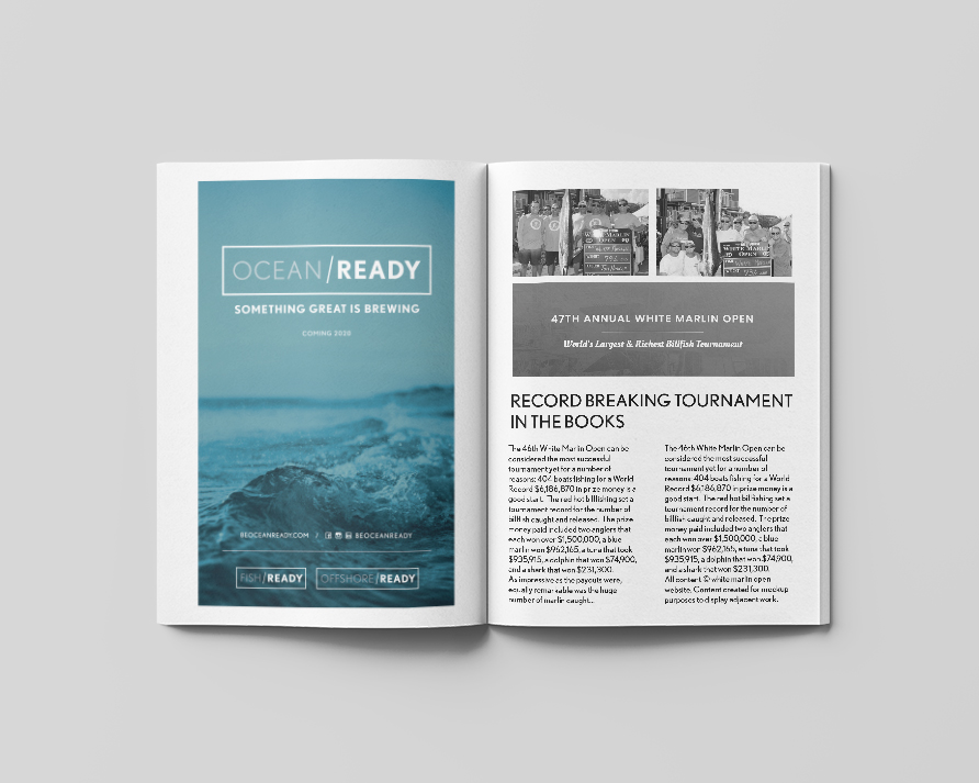 ocean ready magazine advertisment in full color mocked up next to black and white page content